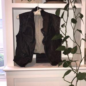 Free People Black Faux Leather Vest